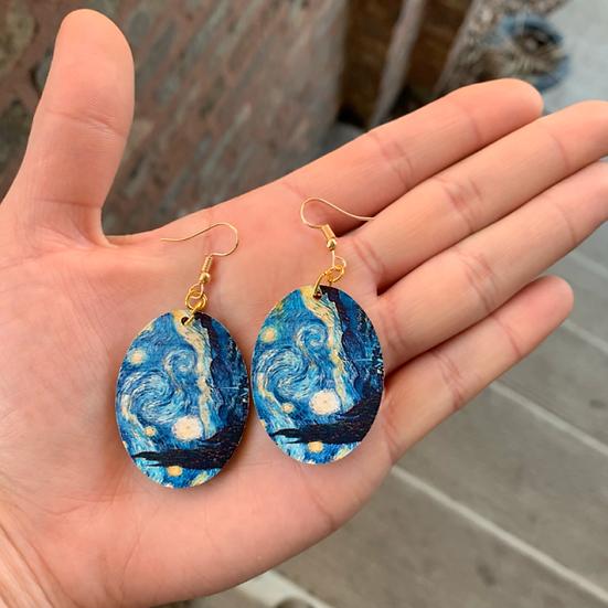 Starry Night Wooden Earrings