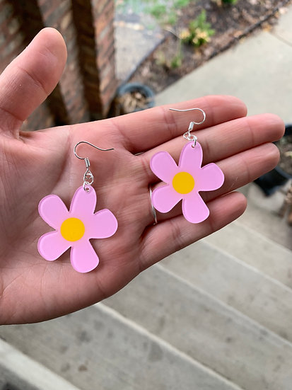 Crazy Daisy Pink Earrings