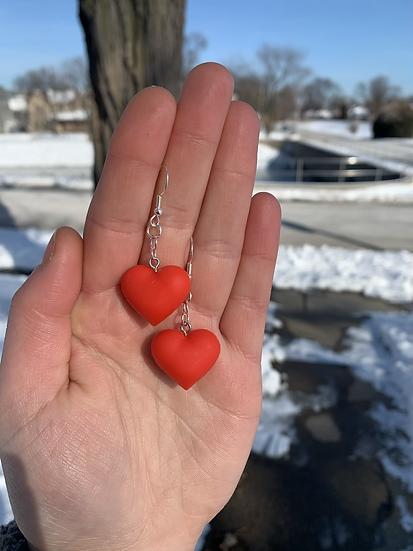 Rosy Red Heart Earrings
