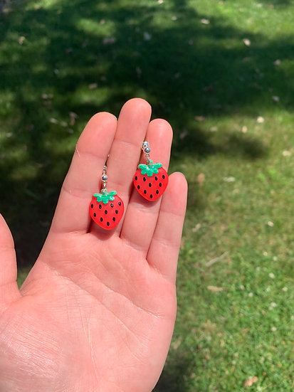 Strawberry Dangling Studs