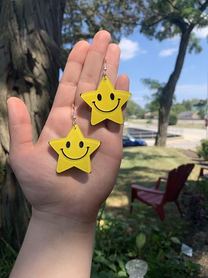 Smiley Star Face Earrings