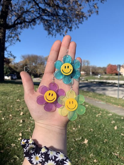 Groovy Smiley Flower Earrings