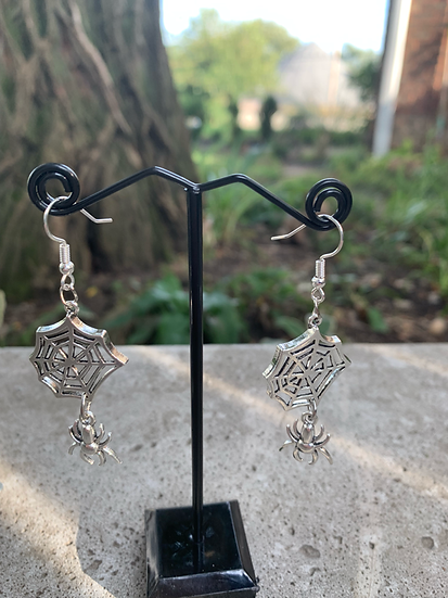 Spider Hanging from Web Earrings