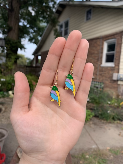Rainbow Parakeet Earrings