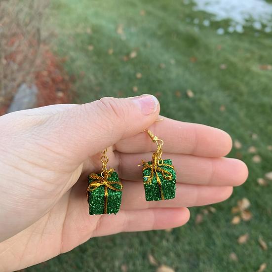 Green Miniature Present Earrings
