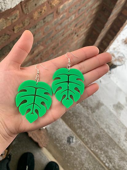 Bright Monstera Leaf Earrings