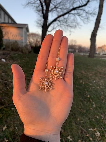 Pearlescent Snowflake Earrings