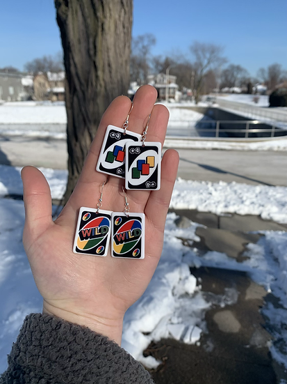 Uno Card Earrings