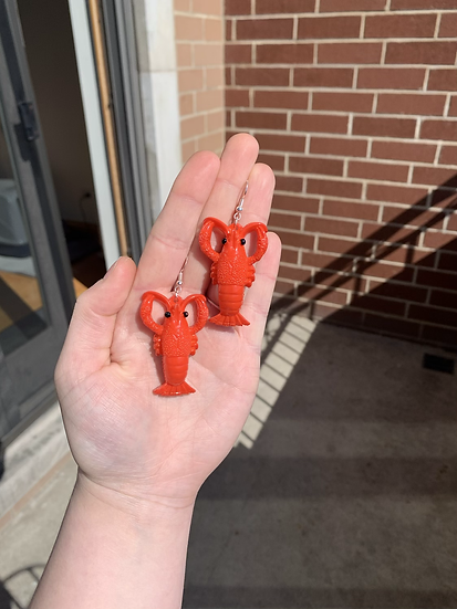 Bright Red Lobster Earrings