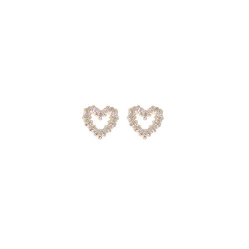 PETITE PAVÉ HEART STUDS 14PTS DIAMONDS