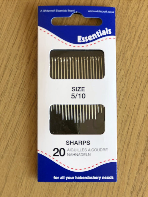 Whitecroft Essentials Hand Sewing Needles, Sharps 5/10