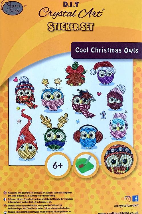 Craft Buddy Cool Christmas Owls Crystal Art Sticker Set