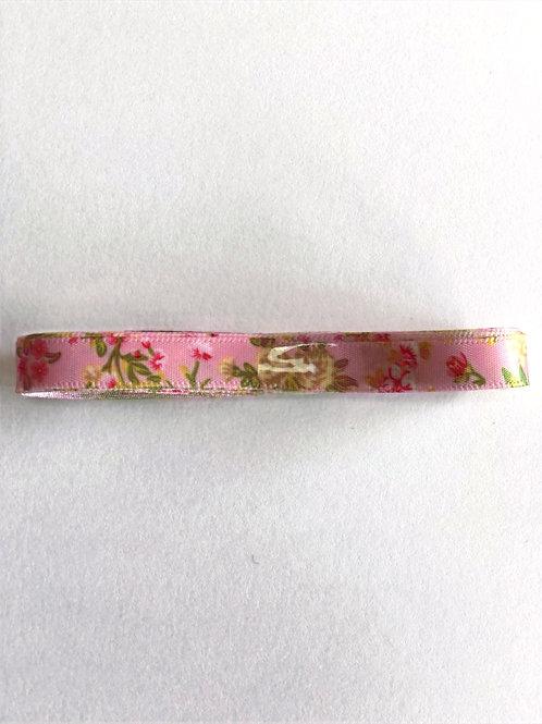 10mm x 3m Floral Satin Ribbon, Pink