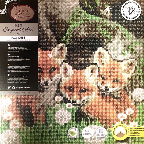 Fox Cubs Crystal Art Picture Frame Kit 30x30cm
