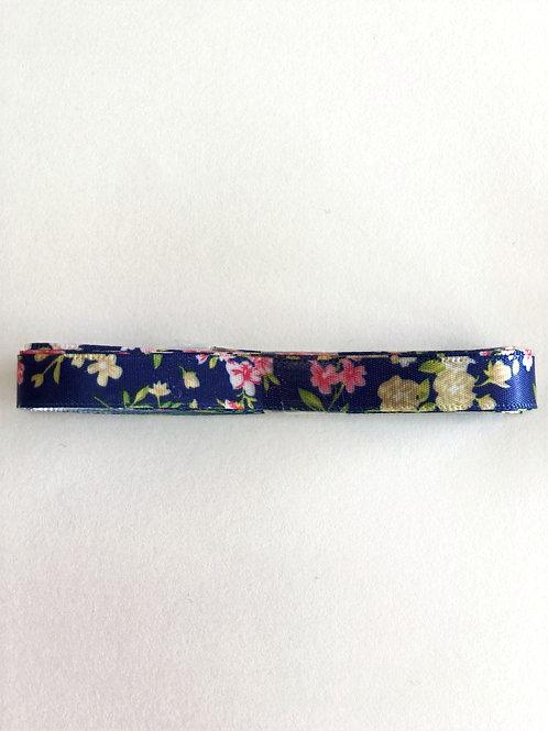 10mm x 3m Floral Satin Ribbon, Navy Blue