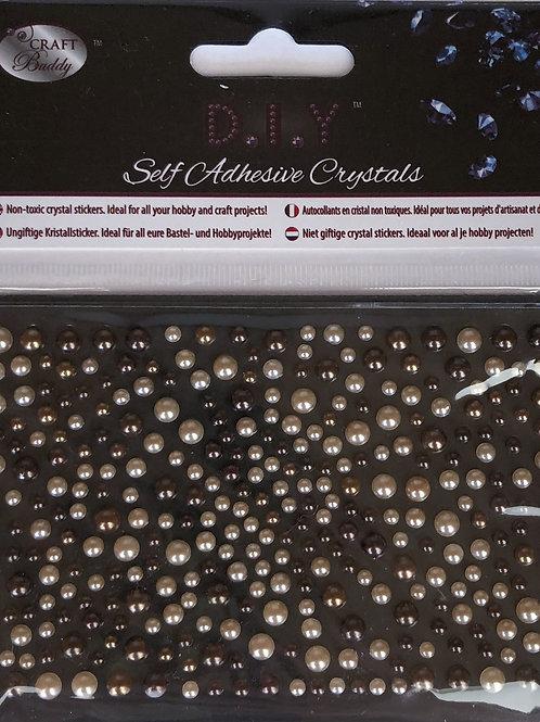 Crystal Art Brown Pearl Mix Self Adhesive Crystals