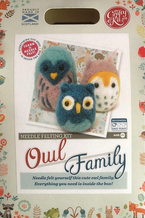 The Crafty Kit Company - Owl Family Needle Felting Kit