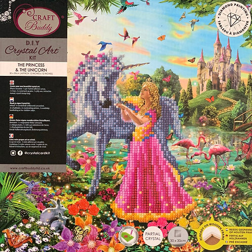 The Princess & The Unicorn Crystal Art Picture Frame Kit 30x30cm