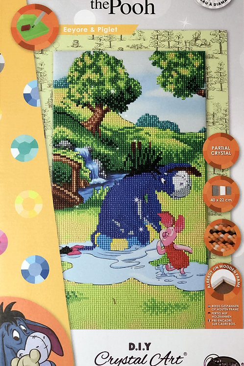 Disney Eeyore and Piglet Triptych Crystal Art Picture Frame Kit 40x22cm