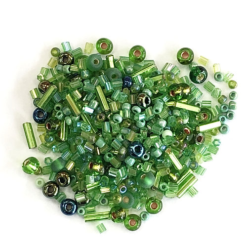 Shades of Green Assorted Glass Beads