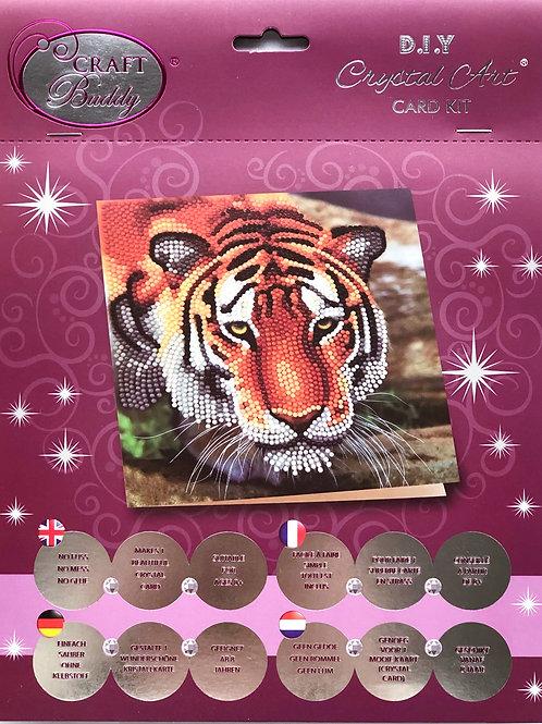 Tiger Face Crystal Art Card