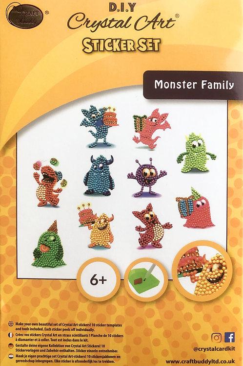 Craft Buddy Monster Family Crystal Art Sticker Set