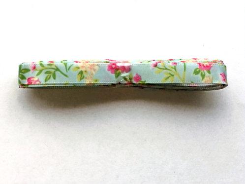 10mm x 3m Floral Satin Ribbon, Green