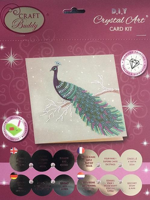 Craft Buddy Pretty Peacock Crystal Art Card