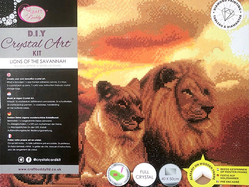 Craft Buddy Lions of the Savannah Crystal Art Picture Frame Kit