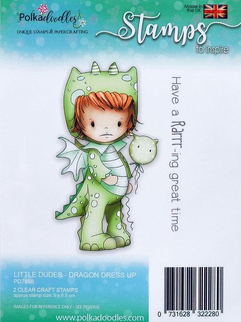 Polkadoodles Little Dudes Polymer Stamp, Dragon Dress up