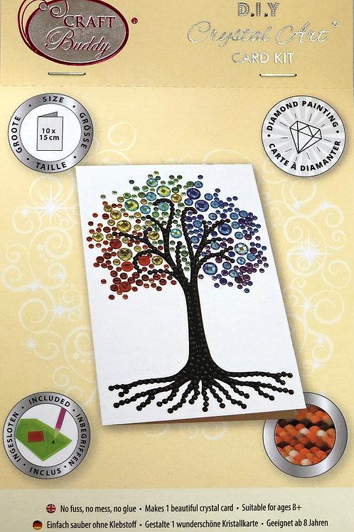 Rainbow Tree Crystal Art Card