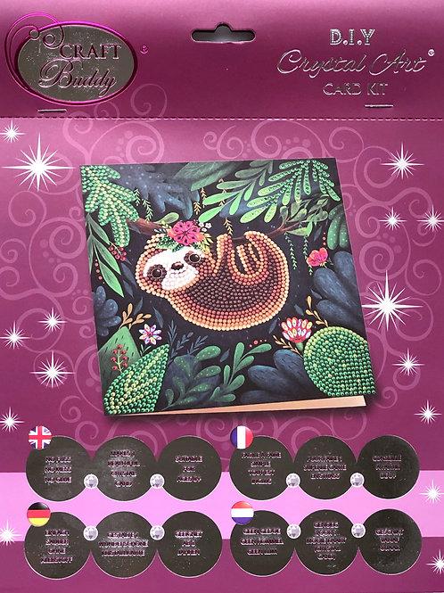 Craft Buddy Sloth Crystal Art Card