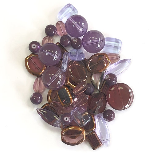 Mixed Glass Beads - Assorted Purples