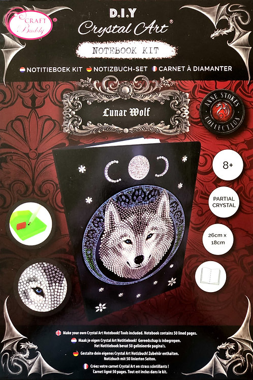 Luna Wolf by Anne Stokes Crystal Art Notebook