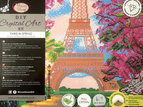 Paris in Spring Crystal Art Picture Frame Kit 50x40cm