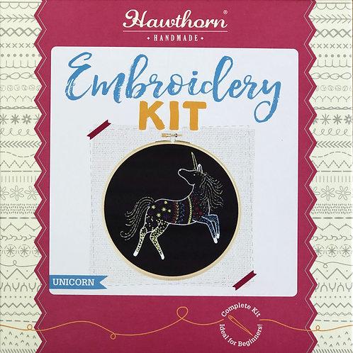 Hawthorn Handmade - Black Unicorn Embroidery Kit
