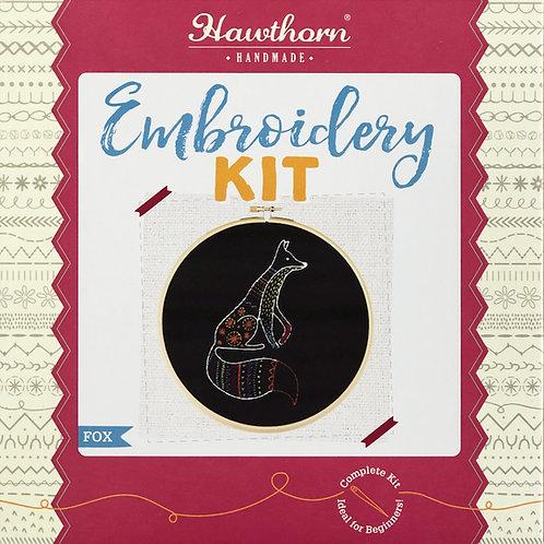 Hawthorn Handmade - Black Fox Embroidery Kit