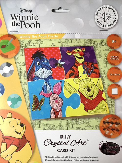 Disney Winnie the Pooh Puzzle Crystal Art Card