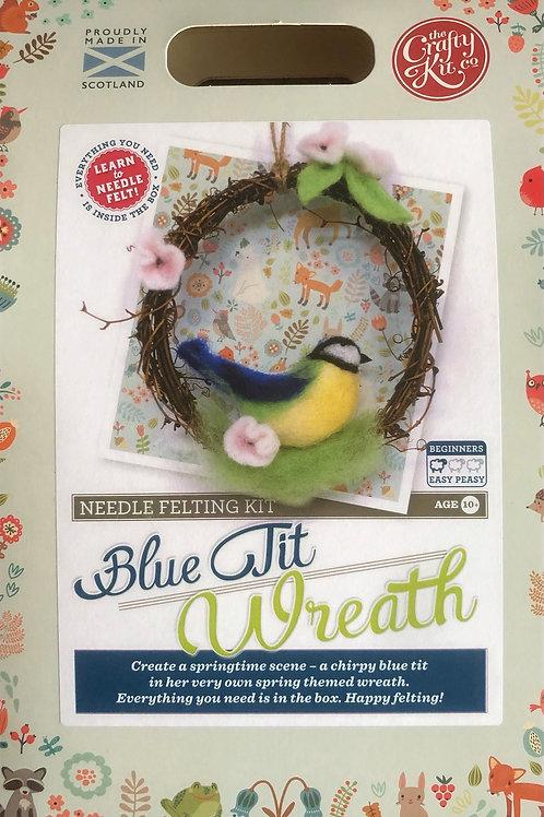 The Crafty Kit Company - Blue Tit Wreath Needle Felting Kit