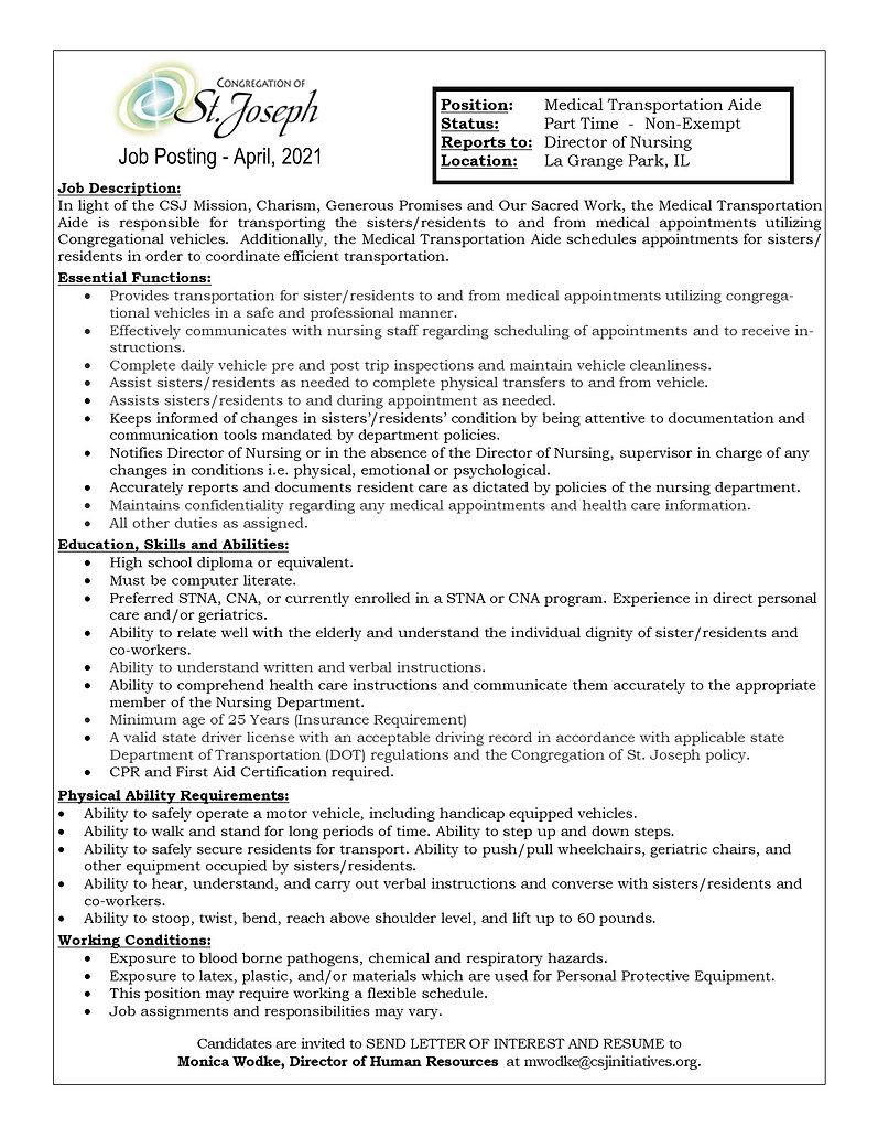 Medical Transportation Aide (April_ 2021