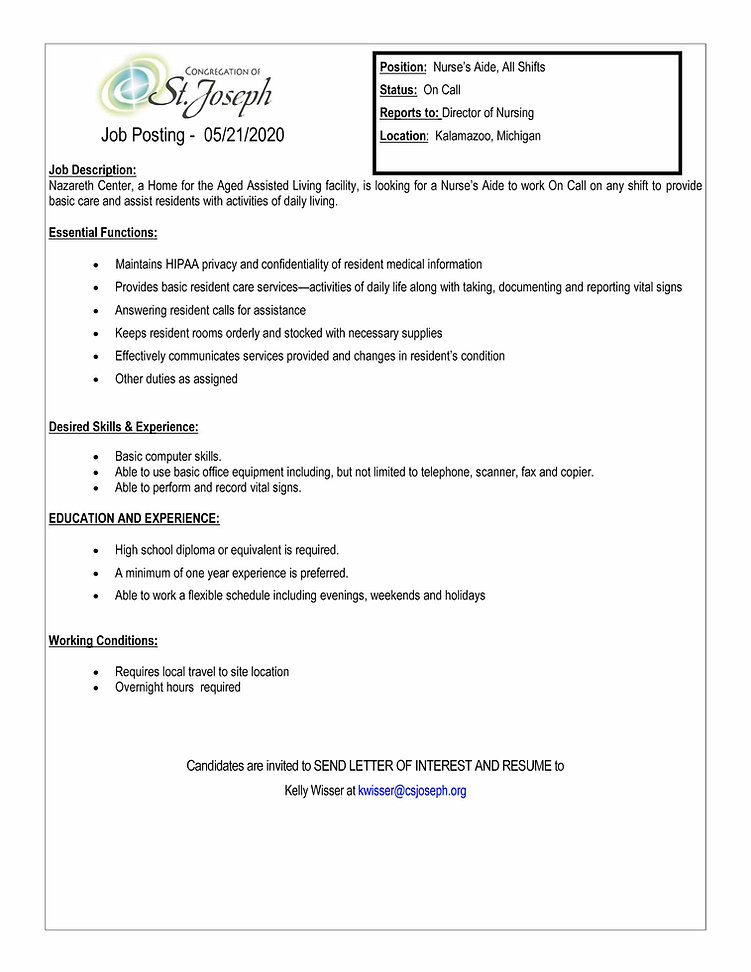 On Call Nurse's Aide job for CSJ website