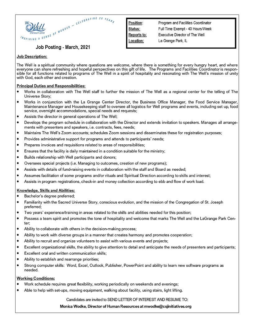 Program and Facilities Coordinator - The