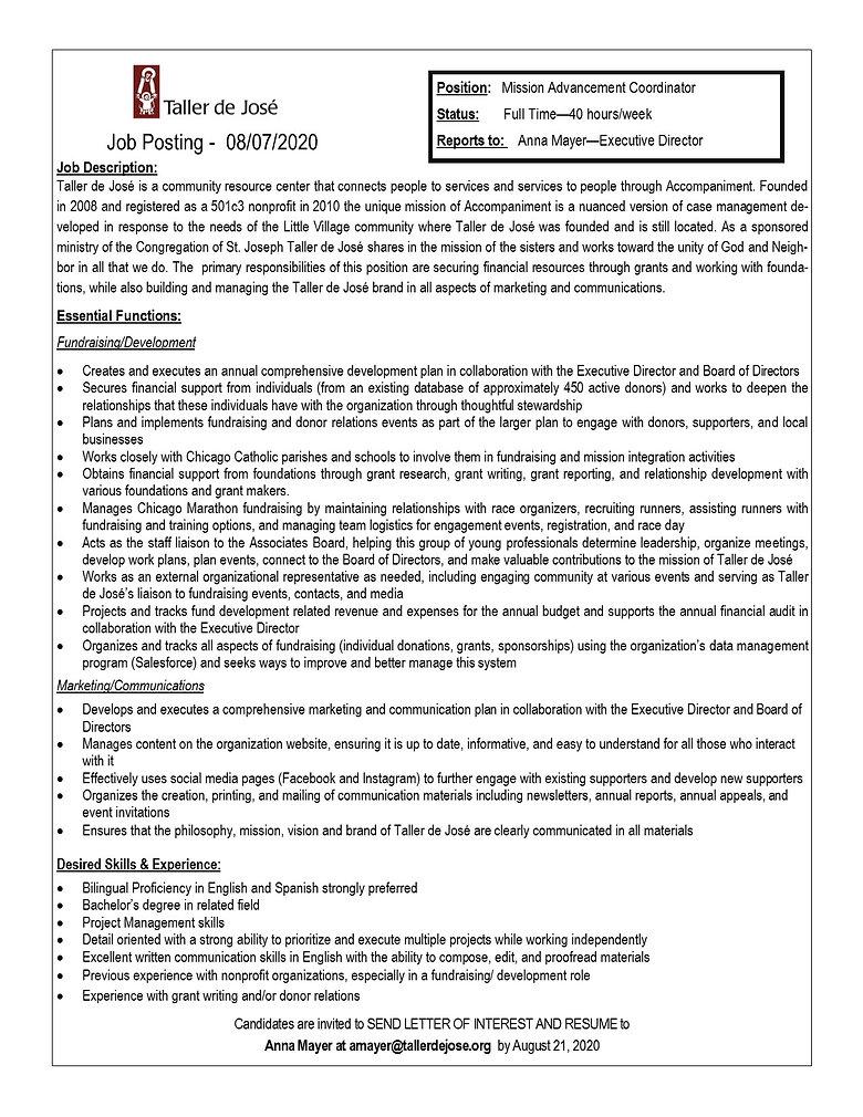 Mission Advancement Coordinator - Taller
