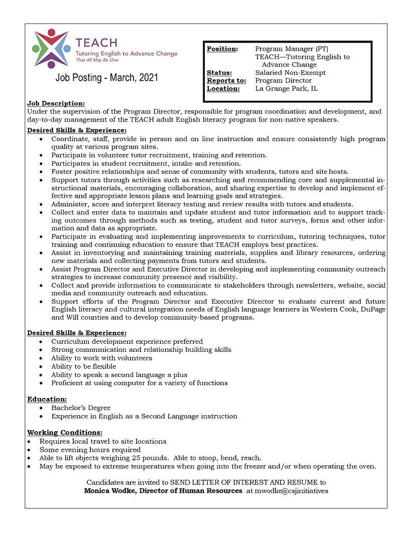 Program Manager (TEACH) March, 2021 (Web