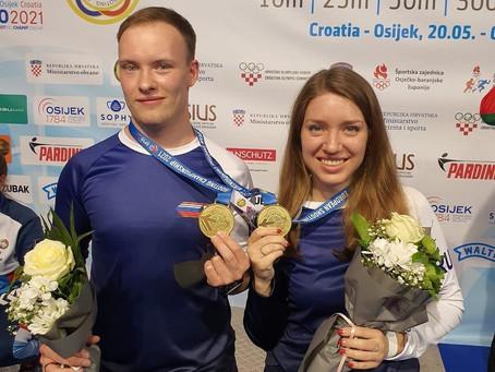 Второе золото Артема Черноусова на чемпионате Европы по пулевой стрельбе