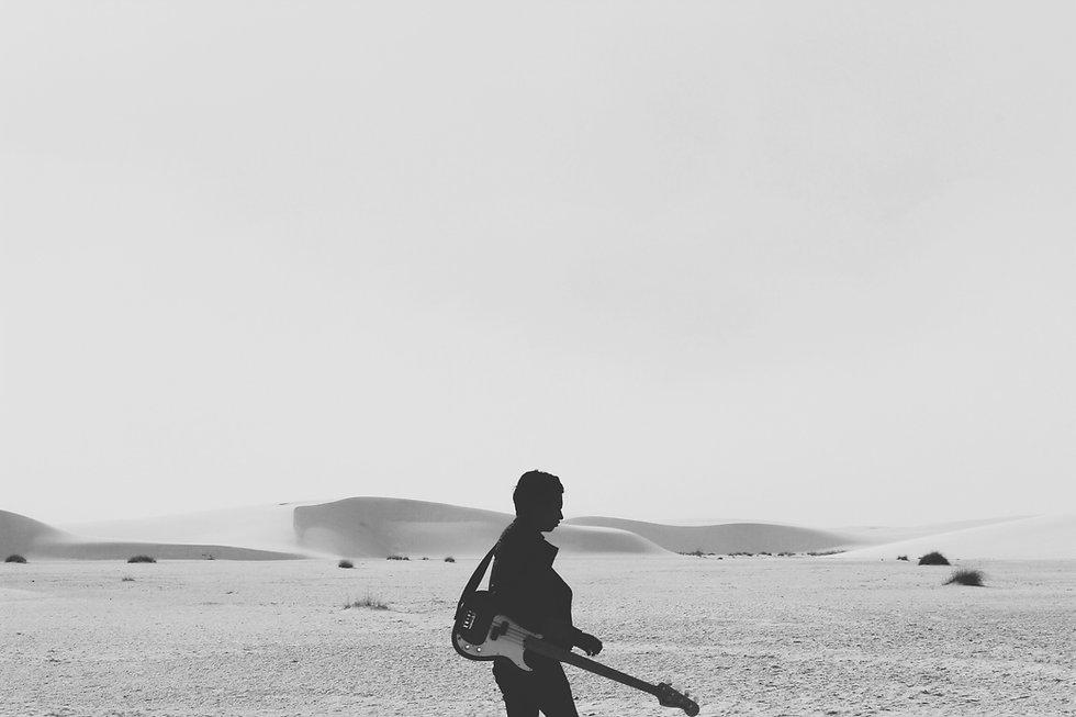 Le guitariste sur la plage