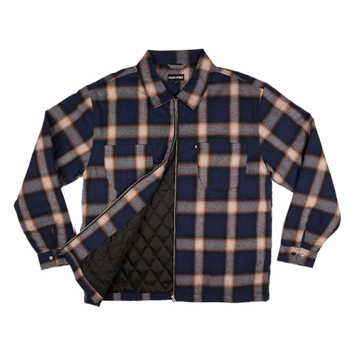 PP Jacket Quilted Zip Up Flannel Navy