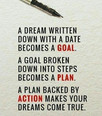 Goal + Plan + Action = Dreams Come True
