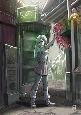 Girl with crying ghost