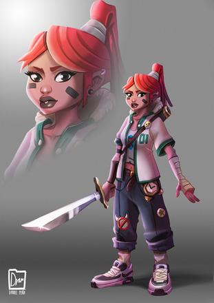 Urban sword woman